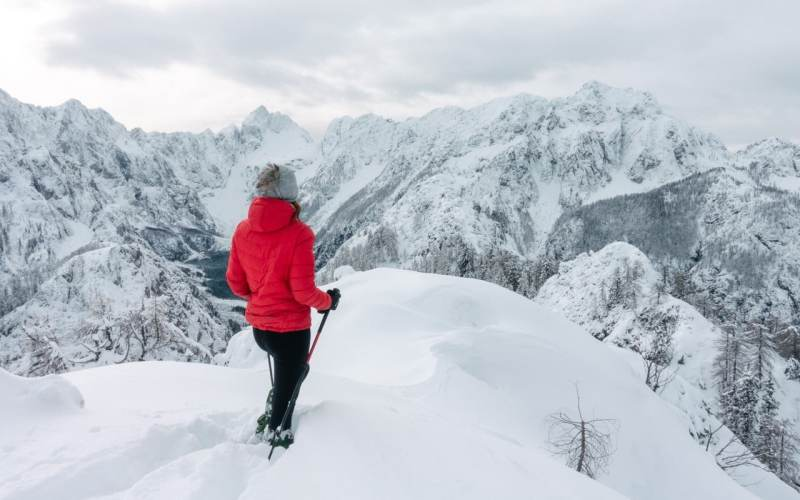 Hiking in a winter fairy tale above Kranjska Gora