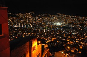 La Paz at night from the top of the yellow teleferico