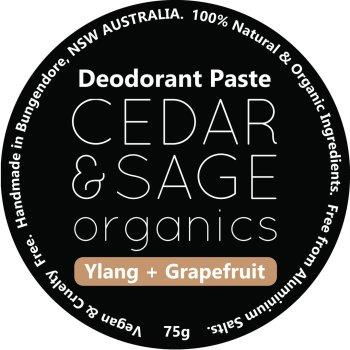 Cedar & Sage Organics Ylang & Grapefruit Deodorant Paste at Slow Beauty Eco Salon