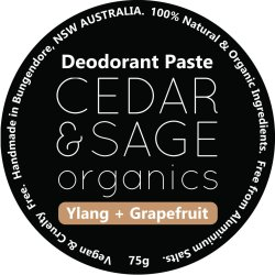 Cedar & Sage Organics Ylang & Grapefruit Deodorant Paste at Slow Beauty Eco Salon