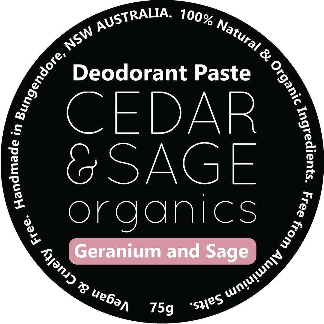 Cedar & Sage Organics Geranium & Sage Deodorant Paste at Slow Beauty Eco Salon in Canberra
