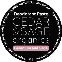 Cedar & Sage Organics Geranium & Sage Deodorant Paste at Slow Beauty Eco Salon in Canberra