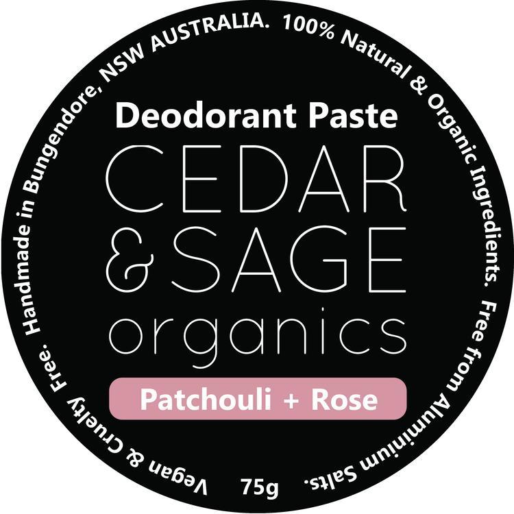 Cedar & Sage Organics Patchouli & Rose Deodorant Paste at Slow Beauty Eco Salon in Canberra