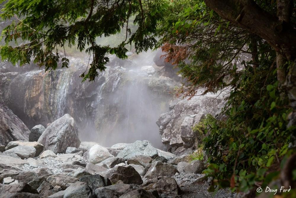 Hot waterfall at Hot Springs Cove