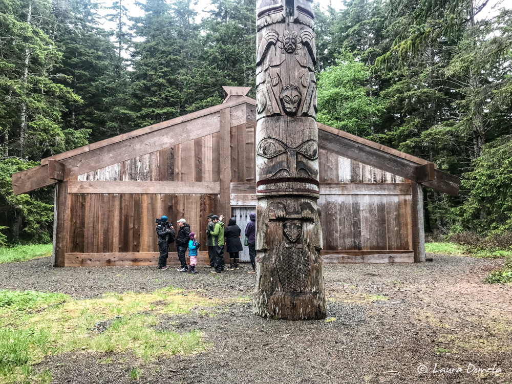 Outside the Haida longhouse in Kasaan