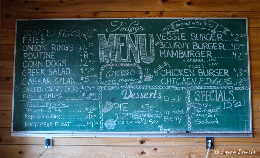 Menu, Java the Hutt cafe
