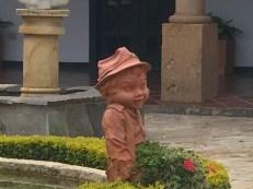 monastary courtyard odd statue