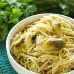 Slow Cooker Brown Butter Creamy Linguine with Roasted Brussels Sprouts