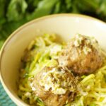 Slow Cooker Herbed Turkey Meatballs with Zucchini, Ricotta and Pesto