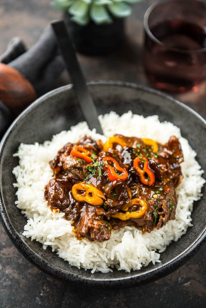 Slow cooker korean beef slow cooker korean beef with sweet peppers uses flank steak and sweet peppers to create a forumfinder Images