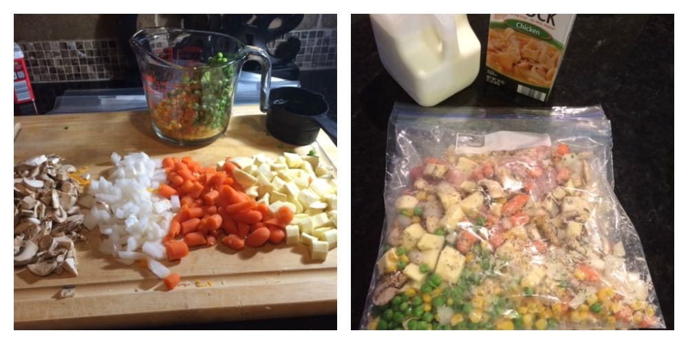 Left hand shot is chopped mushrooms, onion, carrots and parsnips. Right hand shot is all ingredients in a baggie ready for the freezer.