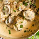 Crockpot Chicken Meatballs with Asiago Cream Gravy