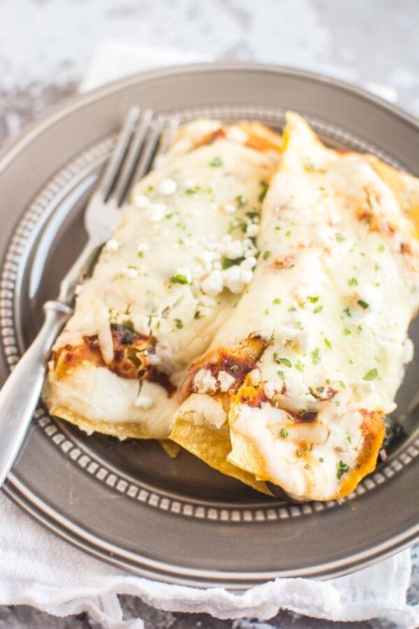 Poblano Mushroom Enchiladas
