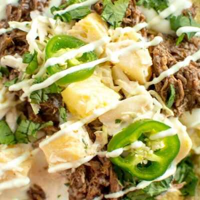 Slow Cooker Spicy Blueberry Chipotle Beef Nachos