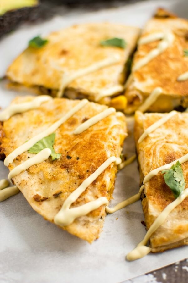 Southwest Chicken Quesadilla with Avocado Ranch