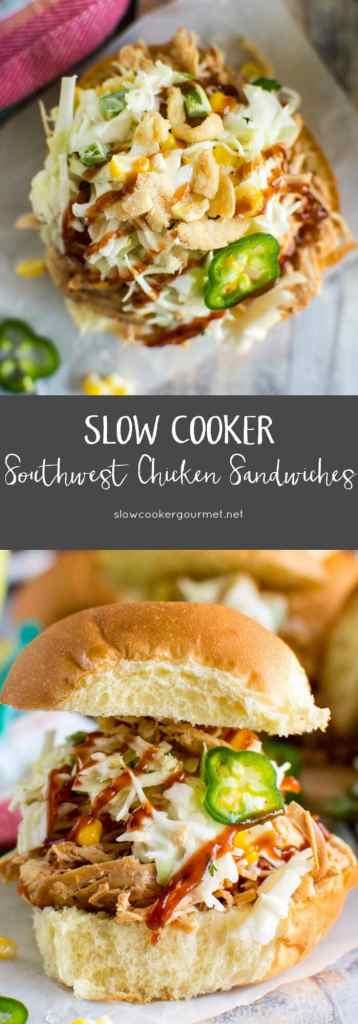Slow Cooker Southwest Chicken Sandwiches