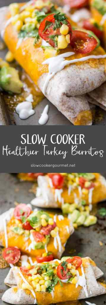 Slow Cooker Healthier Turkey Burritos