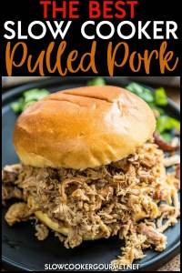 The family is sure to love this amazing slow cooker pulled pork! The perfect homemade spice blend makes it great for sandwiches, tacos and more!! #slowcookergourmet #thebest #slowcooker #pulledpork #porksandwiches #porktacos