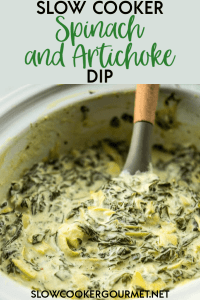 When you are looking for appetizers to serve up family and friends look no further than this simple Slow Cooker Spinach and Artichoke Dip.  This easy and delicious hot dip is the best way to please the masses when entertaining! #spinachartichoke #dip
