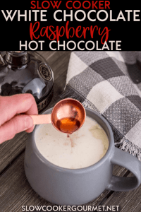 The perfect hot chocolate for parties this Slow Cooker White Chocolate Raspberry Hot Chocolate is 100% homemade and 100% delicious! #whitechocolate #hotchocolate