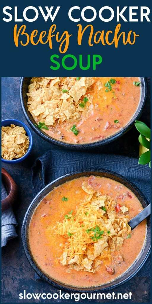 Slow Cooker Beefy Nacho Soup is a simple and quick meal that comes together easily for a weeknight dinner! Less than 5 ingredients and totally homemade! No canned soup here!