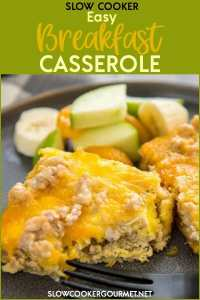 Slow Cooker Easy Breakfast Casserole is the perfect breakfast recipe for the holidays, company or entertaining! Just a few ingredients for an easy delicious brunch! #slowcookergourmet #easy #breakfast #casserole #breakfastcasserole #sausage #eggs #cheese #crescentrollsheets