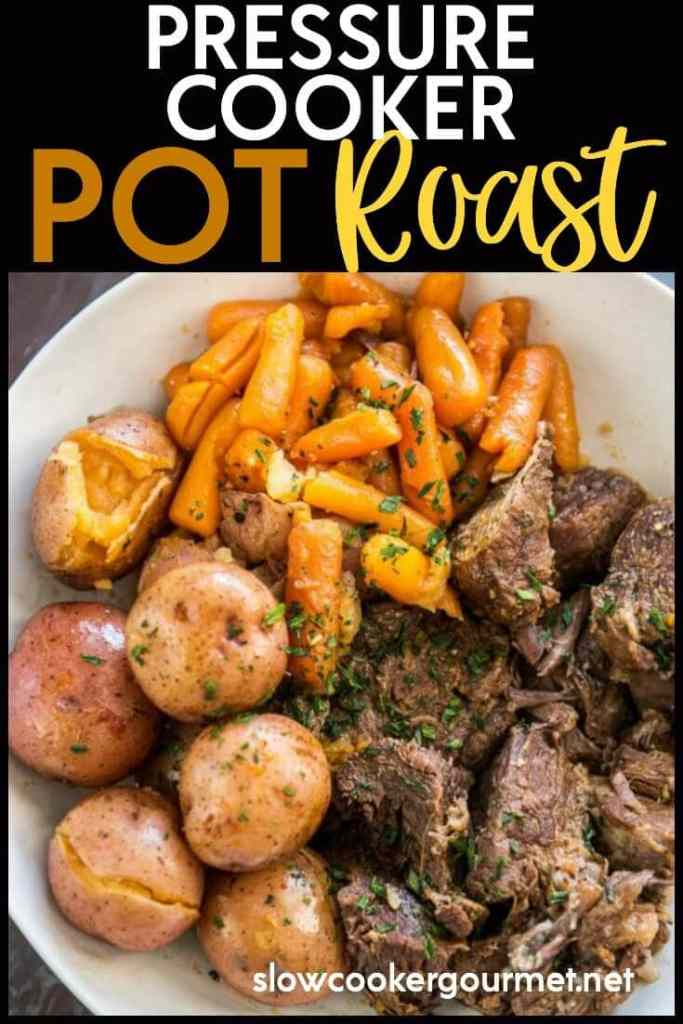 If you are looking for the ultimate family meal that doesn't take all day to make then try this flavorful Pressure Cooker Pot Roast! This pot roast is so easy to make in your Instant Pot or other electric pressure cooker!