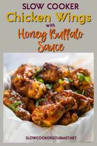 Whether you are hosting or headed to a get-together or just want a tasty snack to enjoy at home, these Slow Cooker Chicken Wings with Honey Buffalo Sauce will be perfect! They are easy, tasty and fun to make! #slowcookergourmet #slowcookerchickenwings #honeybuffalosauce #chickenwings #buffalo #honey #gameday #appetizer