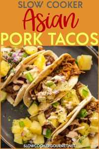 Forget those boring ground meat tacos and make these delicious Slow Cooker Asian Pork Tacos instead!! The pork shoulder cooks all day until fall apart tender in the tastiest sauce that is a little bit sweet and a little bit spicy. #slowcookergourmet #slowcooker #porkrecipe #tacos #pulledpork