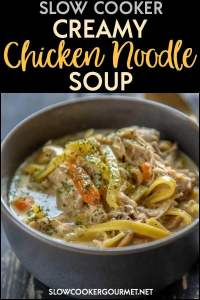 No matter if the weather is warm or cold, a comforting bowl of chicken noodle soup is always in order! This Slow Cooker Creamy Chicken Noodle Soup is quick and easy to assemble and perfect for sharing with a friend or just having for dinner! #slowcookergourmet #soup #chicken #chickennoodle #comfortfood