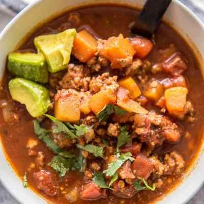 Slow Cooker Turkey Chili with Butternut Squash