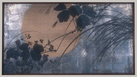 Autumn Grasses in Moonlight, Meiji period (1868–1912), ca. 1872–91 Shibata Zeshin (Japanese, 1807–1891) Two-panel folding screen; ink, lacquer, and silver leaf on paper 26 1/8 x 69 in. (66.4 x 175.3 cm), collection of the Metropolitan Museum, New York