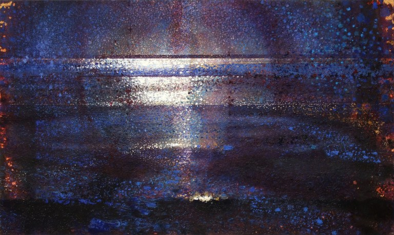 'At Sea' by Randall Stoltzfus, 2007, oil and gold leaf on panel, 36 by 60 inches
