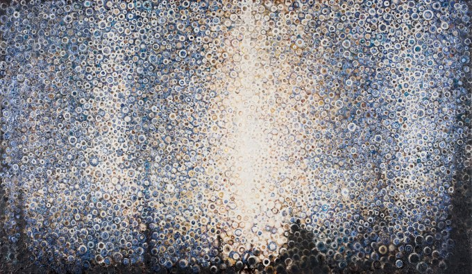 """Transfigured"" by Randall Stoltzfus, 2008, oil and iridescence on linen, 28 by 48 inches"
