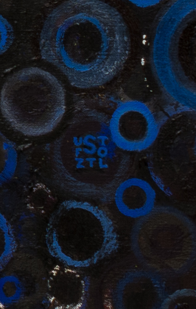 Detail showing blue signature in lower right of the painting