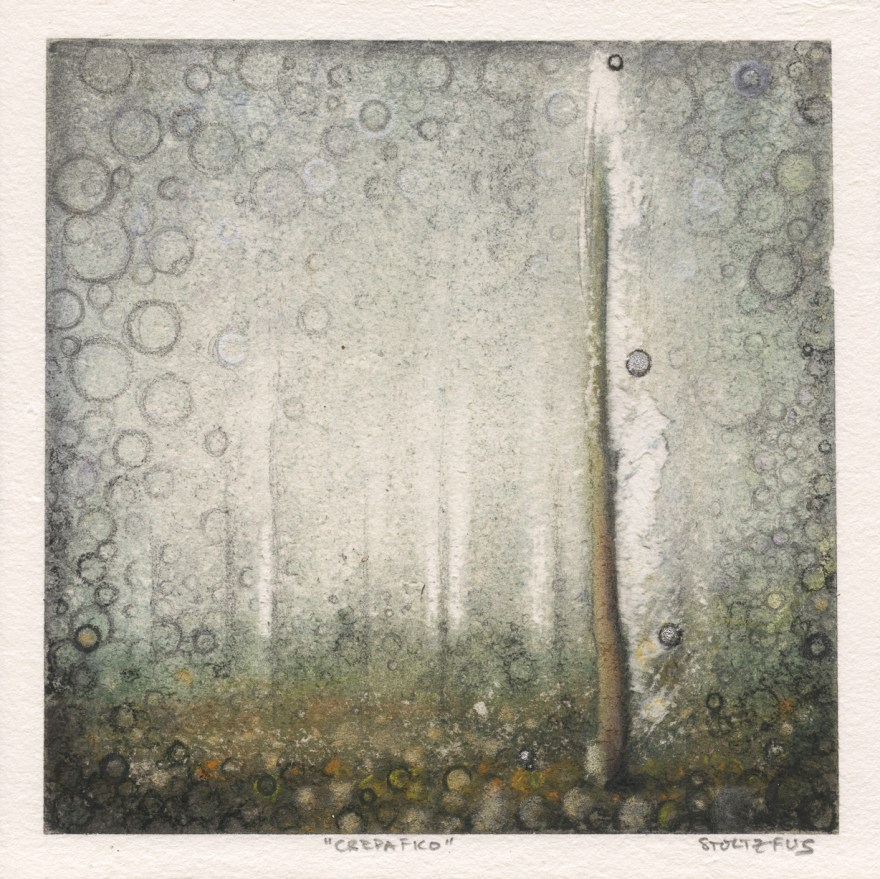 """""""Crepafico"""" by Randall Stoltzfus, pigment and metal leaf on paper, 8.5 inches square"""