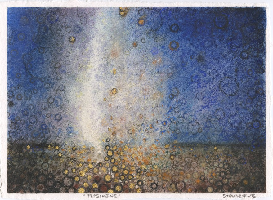 """""""Trasimene,"""" by Randall Stoltzfus, 2012, pigment and gold leaf on paper, 6.5""""x9"""""""
