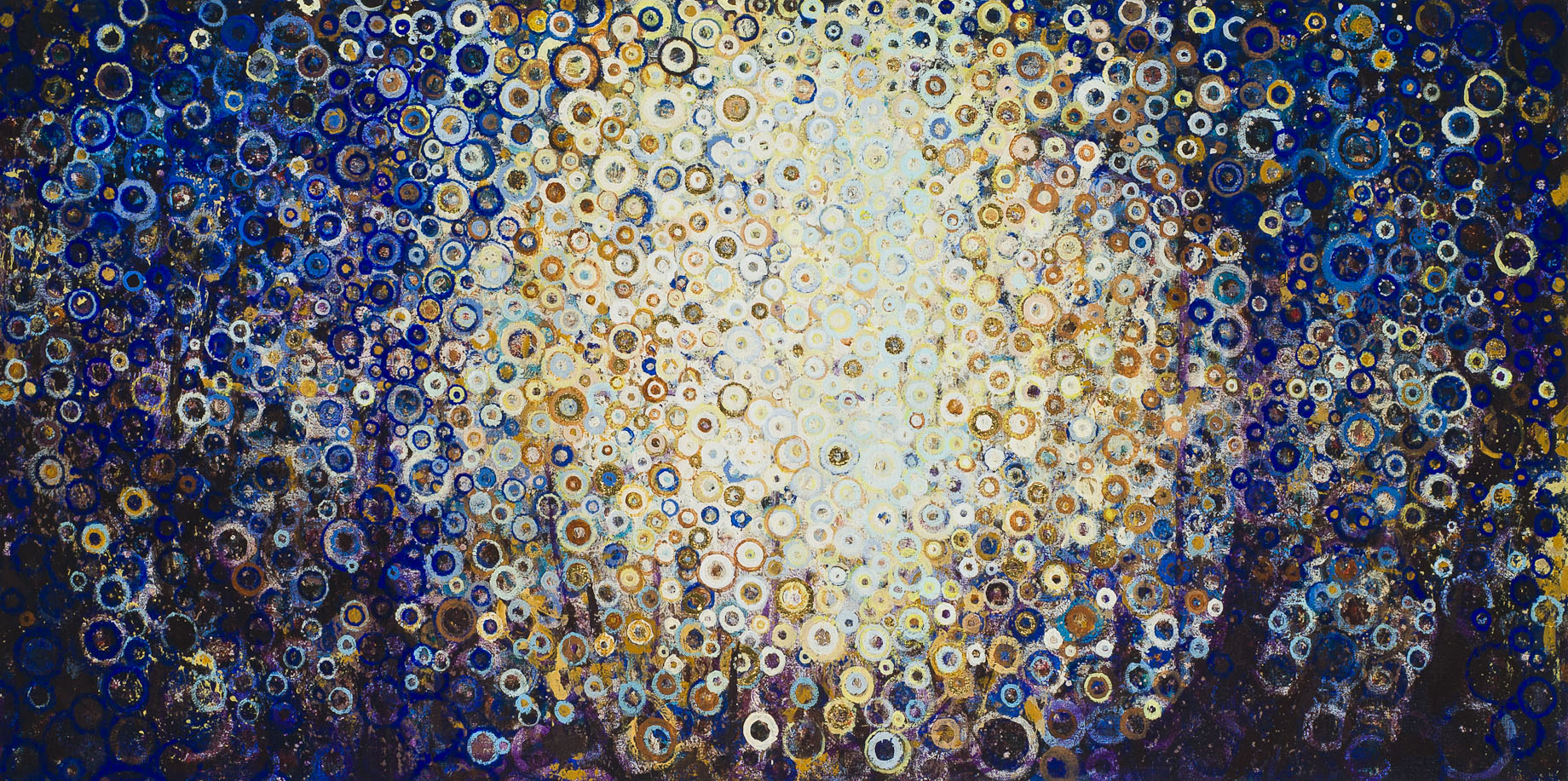 """Near,"" by Randall Stoltzfus, 2013, oil and acrylic dispersion with gold leaf on linen, 20 by 40 inches"