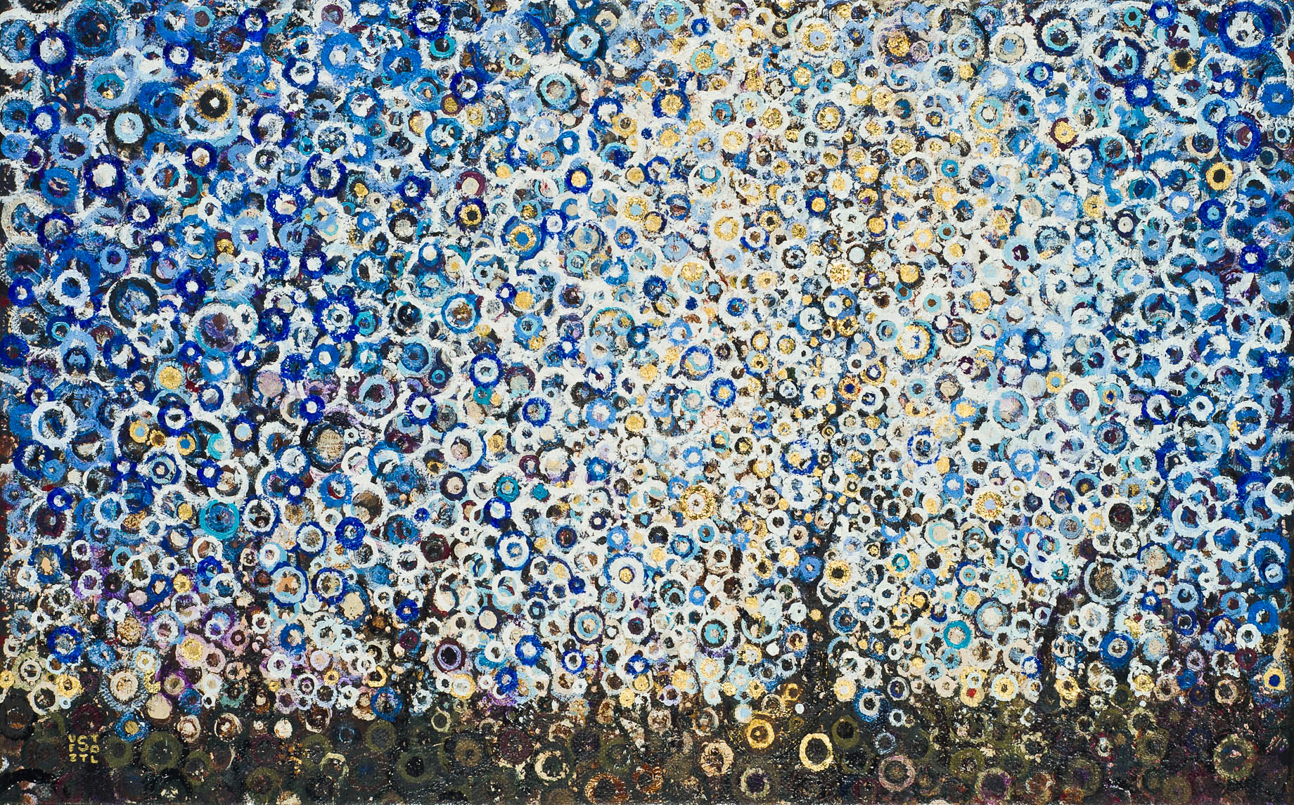 """Solstice"" by Randall Stoltzfus, 2011, oil an gold leaf on linen, 15 by 24 inches"