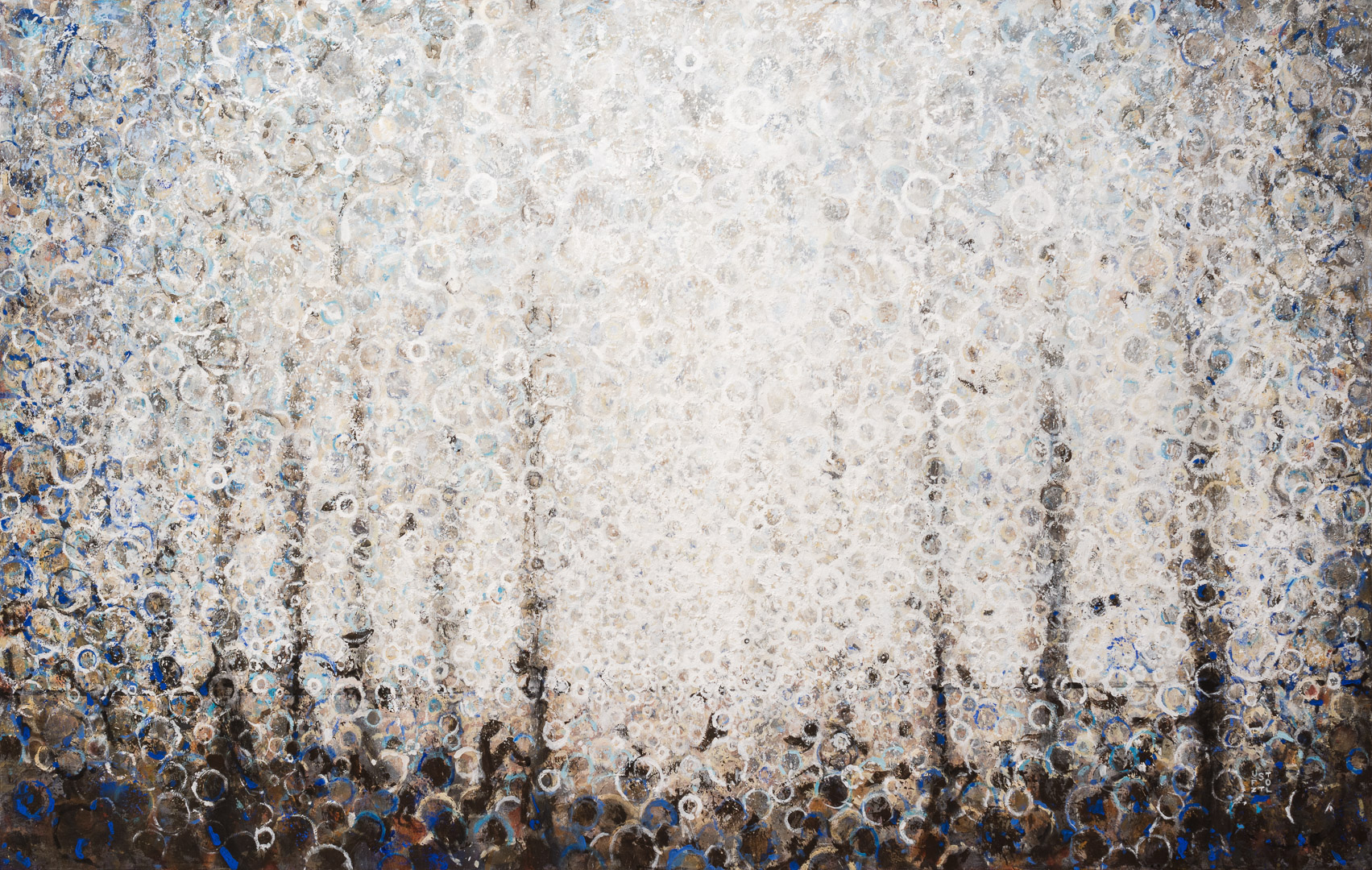 "silver, Grey and Blue | ""Wheel"" painted by Randall Stoltzfus 