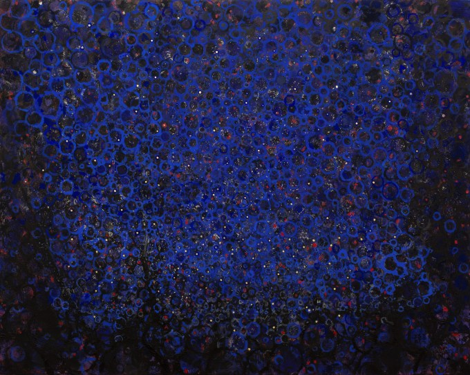 """Sidereal"" by Randall Stoltzfus. 2014, Acrylic dispersion with gold leaf on recycled polymer, 48 by 60 inches."