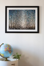 Uplifting Wall Art   This print of the evocative, effervescent painting Ida Grove by Randall Stoltzfus draws the eye with bouyant circles in blue, white and golden earth tones   Here in a simple black poster frame