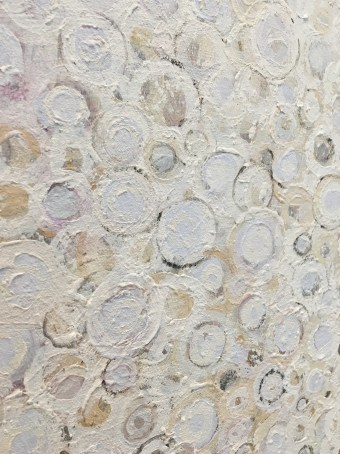 Detail photo of white textured circular brushstokes in the painting 'Ardor' by RandallStoltzfus