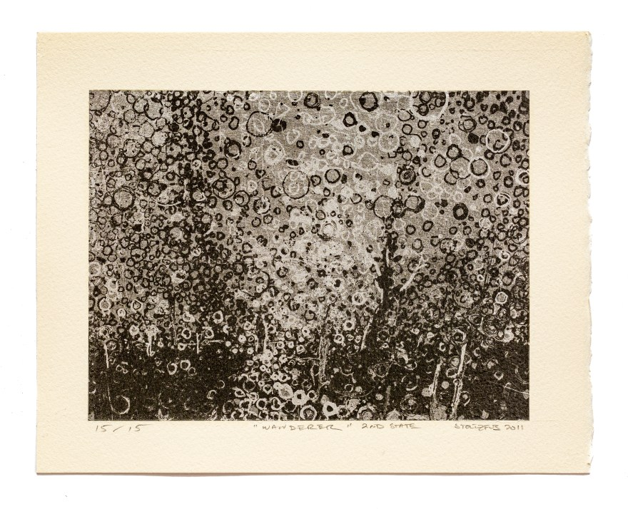 """Hand-laid metal leaf forms a custom background for the carbon digital print """"Wanderer, 2nd State"""" by Brooklyn artist Randall Stoltzfus. this is print number 15 out of the limited edition of 15"""
