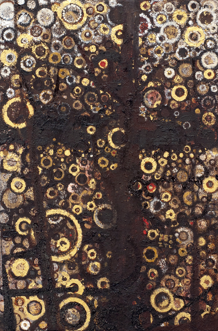 "Cruciform black bands over a field of gold circular brushstrokes in the painting ""Crux"" by Randall Stoltzfus"