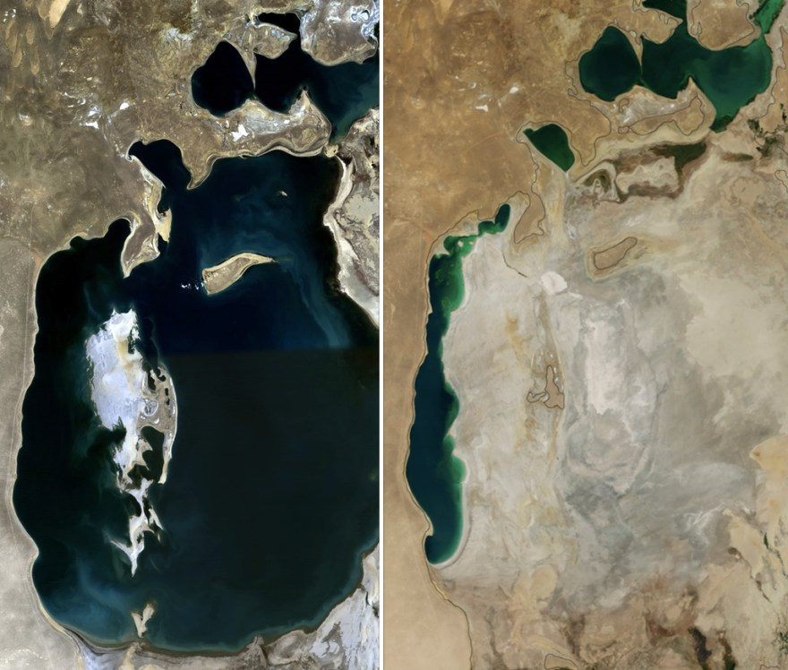 NASA photos showing the desertification of the Aral Sea for cotton production