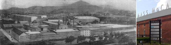 The Arnold Print Works in North Adams Massachusetts produced 330 miles of cloth in 1905. Forced to close in 1942 due to low prices, the complex is now home to MASS MoCA, the Massachusetts Museum of Contemporary Art.