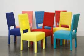 Chairs designed by Roy McMakin upholstered in fabric woven and dyed by Bodenner Studio