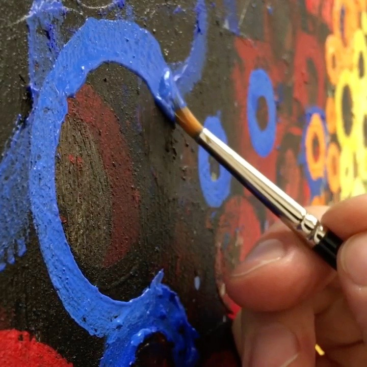 One Blue Circle at a time | Here's a minute-long video of me painting one blue circle on a rainbow colored expanse | Click through to my site for a wide format video | Randall Stoltzfus