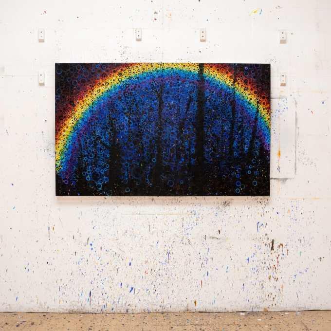 """Rainbow Splatters   The painting """"Lost"""" by Randall Stoltzfus hangs on the artists New York City studio wall"""